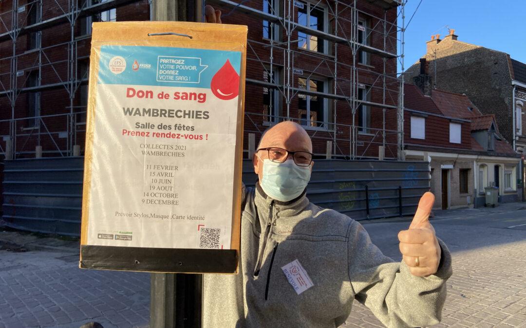 « On colle une affiche, on offre un stylo, un sourire » : l'association Don du sang des 3 villes en campagne à Wambrechies